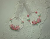 Set of 2 Pink Rose Heart Handmade Cabochon Ornament Furniture Applique Cottage Shabby Chic