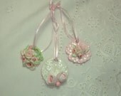 Set of 3 Pink Rose Handmade Ornaments  - Furniture Applique  - Romantic Cottage Shabby Chic