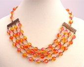 Four Strand Necklace Glass Beads Citrus Colors Bridal Bridesmaid Wedding Jewelry