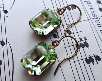 Vintage Swarovski Chrysolite Earrings Celadon Mint Green