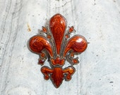 1930s Red Enamel Fleur de Lis Pin Brooch  Gilt Silver