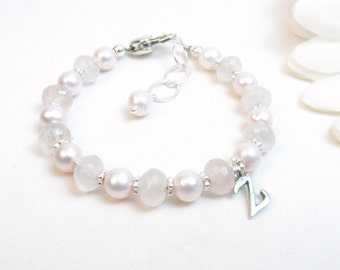 Baby Girl Bracelet // Baby Bracelet // Pink Baby Bracelet // Little Girl Bracelet // Flower Girl Bracelet // Rose Quartz Bracelet