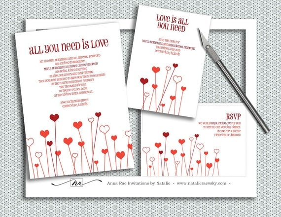 All You Need Is Love Wedding Invitations