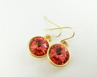 Dark Peach Dangle Earrings Gold Drop Earrings Crystal Earrings Crystal Jewelry