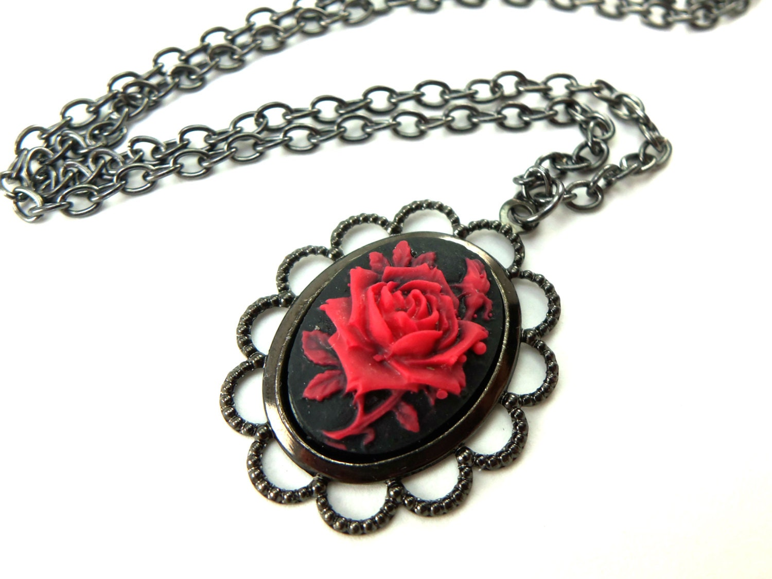 Gothic rose necklace black red rose cameo pendant dark by for Red black and green jewelry