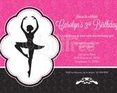 Ballerina Birthday Invite - DIY Girl's Photo Invitation for Ballet themed birthday party
