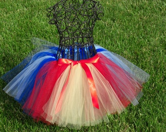 Snow White tutu- Girls Snow White Tutu- Princess Tutu- Baby Snow White Costume- Blue Tutu- Snow White Present-Red tutu- Disney Costume
