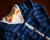 Cardigan onesie bodysuit with bow tie onesie blue navy stripe - FREE SHIPPING