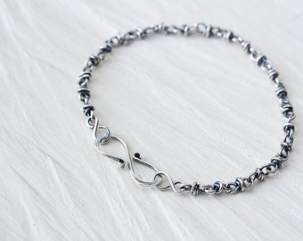 Unique Sterling Silver Chain Bracelet, silver infinity bracelet, handcrafted silver chain, artisan jewelry, Friendship bracelet, minimalist