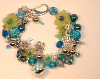 Blue and Green Charm Bracelet , Floral Charm Bracelet , Flower Cluster Bracelet