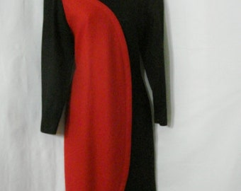 Vintage 60s Mod Dress Argos Black & Red Abstract Rockabilly Career Fitted WOOL Dress M