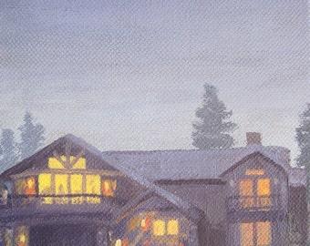 Smoky Blues House at Dusk Print 5 x 7, twilight, night scene, home, calm, housewarming gift, blue, grey, gray, warm
