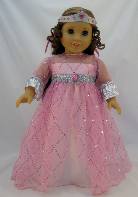 American Girl Doll Sized Enchanted Designer Pink Princess Gown
