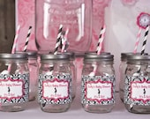 Water Bottle Labels - Baby Shower Decorations - Mom to Be Theme in Hot Pink & Black Damask (12)