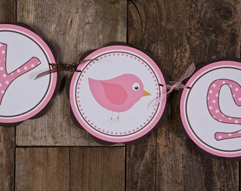 Birdie Themed BABY SHOWER It's a Girl Banner, Bird Baby Shower Decorations Pink and Brown