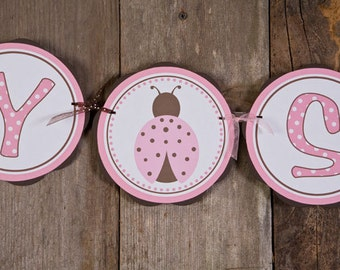 BABY SHOWER Banner - Ladybug Baby Girl Baby Shower Decorations in Pink and Brown