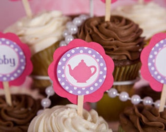Tea Party Decorations - Tea Party Cupcake Toppers - Happy Birthday Party Decorations in Hot Pink and Purple