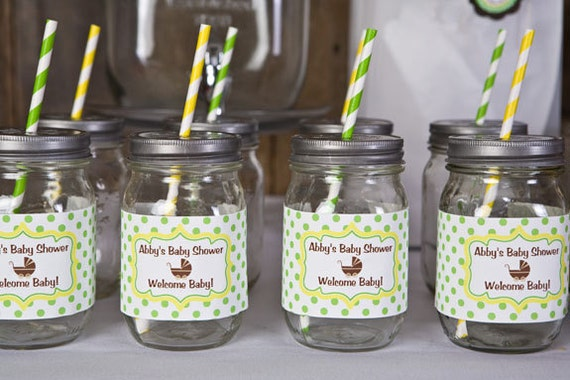 Items Similar To Water Bottle Labels   Baby Shower Decorations   Gender  Neutral Carriage Theme In Yellow, Green U0026 Brown (12) On Etsy