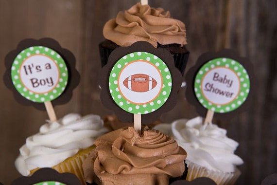 football theme cupcake toppers baby shower decorations lil