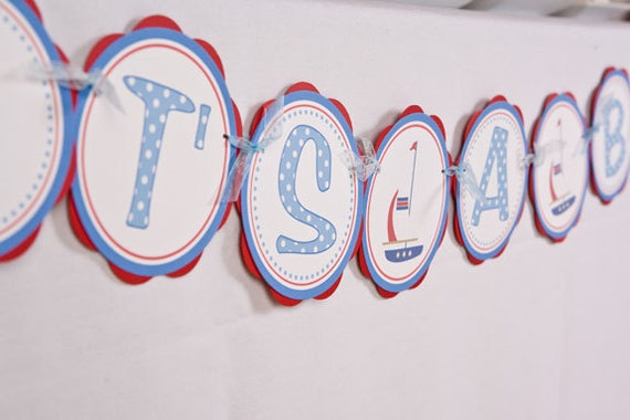 Baby Shower Banner -  ITS A BOY Sign - Sailboat Theme Baby Shower Decorations in Blue and Red