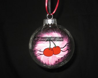 Hand Painted Cherries Rockabilly Christmas Ornament