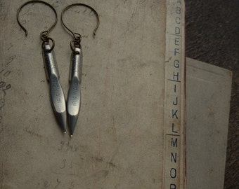 Unusual Antique Pen Nib Earrings - Scribbles No. 038
