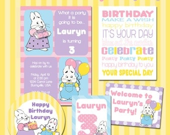 Max and Ruby Party Printable Kit, Custom Birthday Invitations