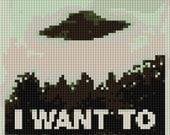 I Want to Believe counted Cross Stitch Pattern UFO in the Distance