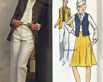 Vintage 1970s Anne Klein Pattern Wardrobe Jacket Vest Gored Skirt and Pants 1972 Vogue 2689 Bust 36 UNCUT