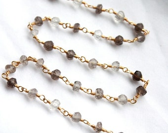 Sale 1 Foot Smokey Quartz Gemstone with Gold Plated Wire Chain // Wire wrapped by hand