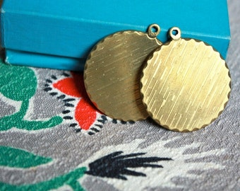 2 Large Round Vintage 1950's Brass Pendant Medallions // 50s Astro Texture