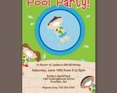 Boy's Birthday Pool Party Invitation