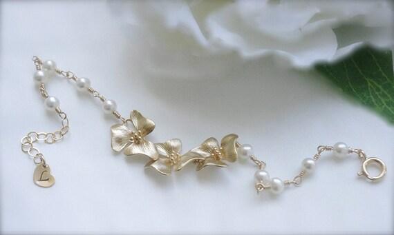 Bridal Flower Bracelet : Bridal pearl bracelet flower jewelry beaded by