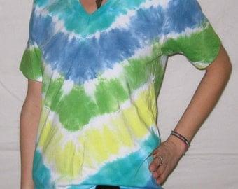 Tie Dye Organic V-Neck S V-Stripe