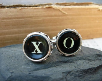 Antique Typewriter Key Cufflinks - Steampunk - Upcycled - X and O keys -  C53 - Groom - Wedding - Groomsmen