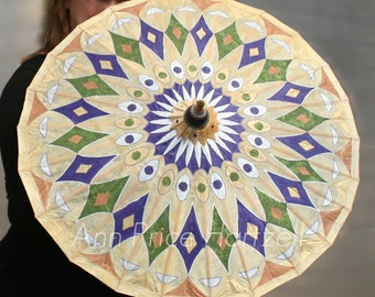 Parasol - Hand painted Purple Silver Green