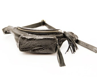 Leather Fanny Pack, black fanny pack