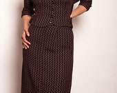 Classicly Gorgeous Red and Black Vintage Pencil Skirt Suit