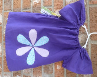 Appliqued Purple Flutter Sleeve Toddler Girl's Dress Size 2T Ready to Ship