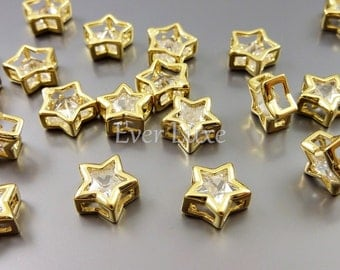 4 Small clear crystal Cubic Zirconia star beads, gold brass metal findings, jewelry making supplies 1826-BG