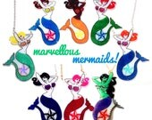 Mermaid Pin-Up Necklace - 8 to choose from - blonde, brunette, ginger, redhead, black, pink alternative, goth, zombie