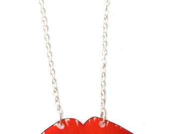 Lips Necklace - Valentine's - Jointed Joined Moveable Movable Lips - Kissy Kissy Mwah - Bright Red Lipstick - Love Kiss