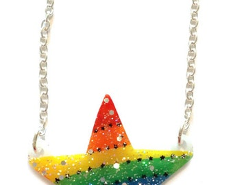 Sparkly Rainbow Star Necklace - Featured in SLIMMING WORLD MAGAZINE - Pride, Rainbows, Stars, Cute, Holographic Glitter