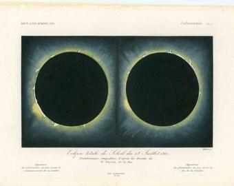 1861 TOTAL SOLAR ECLIPSE engraving - original antique print - astronomy - sun and moon - rare!