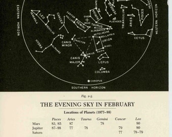 1977 FEBRUARY or JANUARY constellation monthly celestial star map original vintage astronomy print