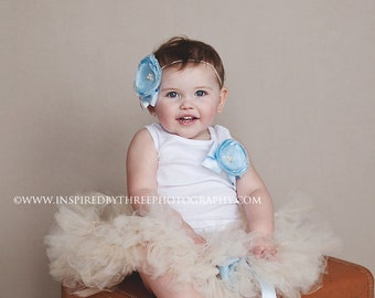 Baby Girls Birthday Tutu Dress Outfit, Champagne Blue Tutu Outfit