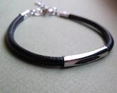 Mens Bracelets - Silver Leather Bracelet for Men. Adjustable Mens Bracelet. Black / Brown Unisex Bracelet - Mens Jewelry - Elegant Mens Cuff