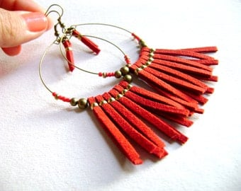 Boho style earrings Carmine red faux suede leather golden beads bohemian indie chic long earrings - Wildly -