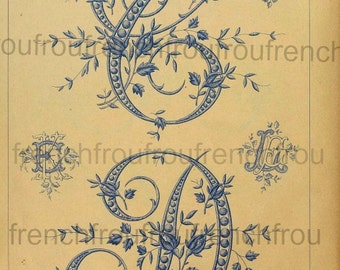 antique victorian french alphabet rosebuds embroidery calligraphy letters illustrations digital download