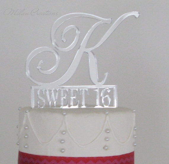 Cake Toppers Birthday Etsy : Sweet 16 Birthday Cake Topper with Monogram by MilanCreations